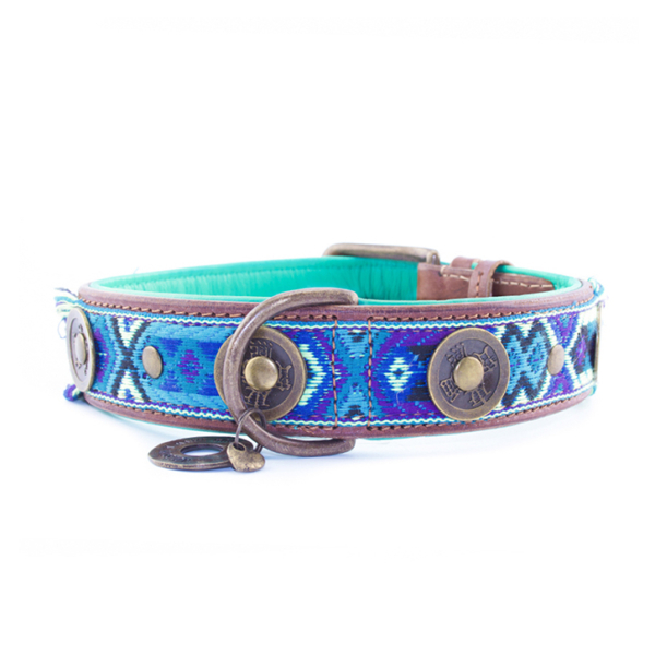 Hippe hondenhalsband blauw boho juan 2,5 cm