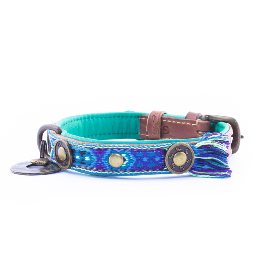 Ibiza hondenhalsband blauw bohojuan 2 cm