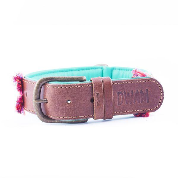 Leren hondenhalsband boho rosa 2,5 cm