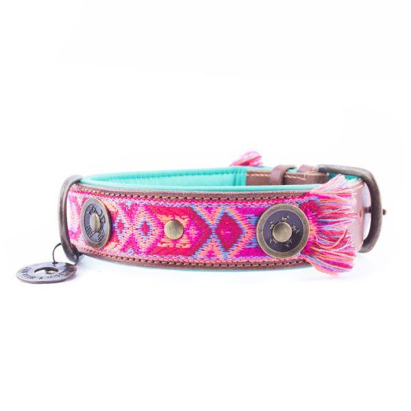 Roze hondenhalsband boho rosa 2,5 cm van dog with a mission 2
