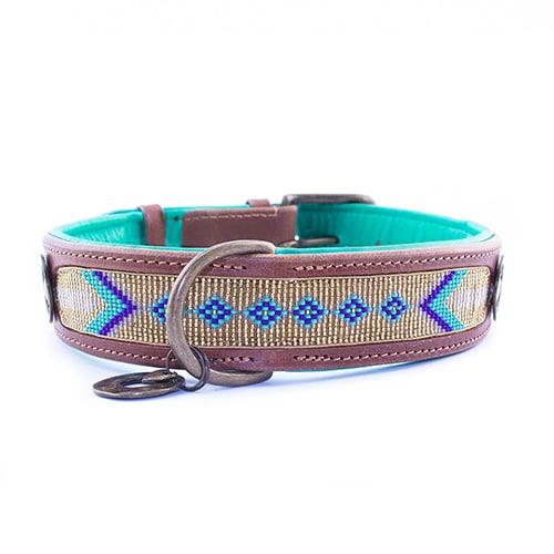 Stijlvolle leren hondenhalsband Indi Moon goud 1,57inch