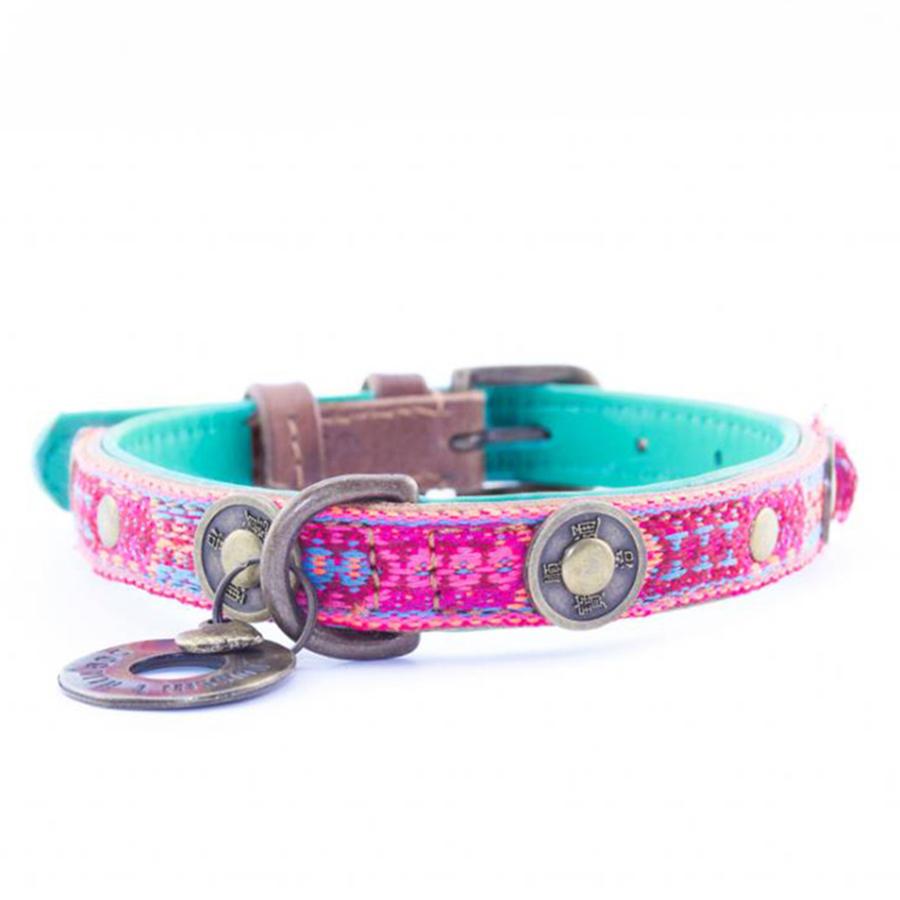 leren hondenhalsband boho rosa
