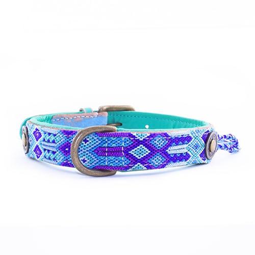 Gypsy Leren hondenhalsband blue-2,5cm