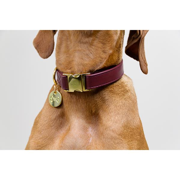 Mooie hondenhalsband rood goud