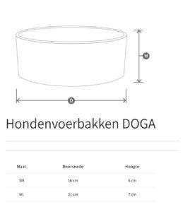 luxe hondenvoerbak steen DOGA maattabel 2